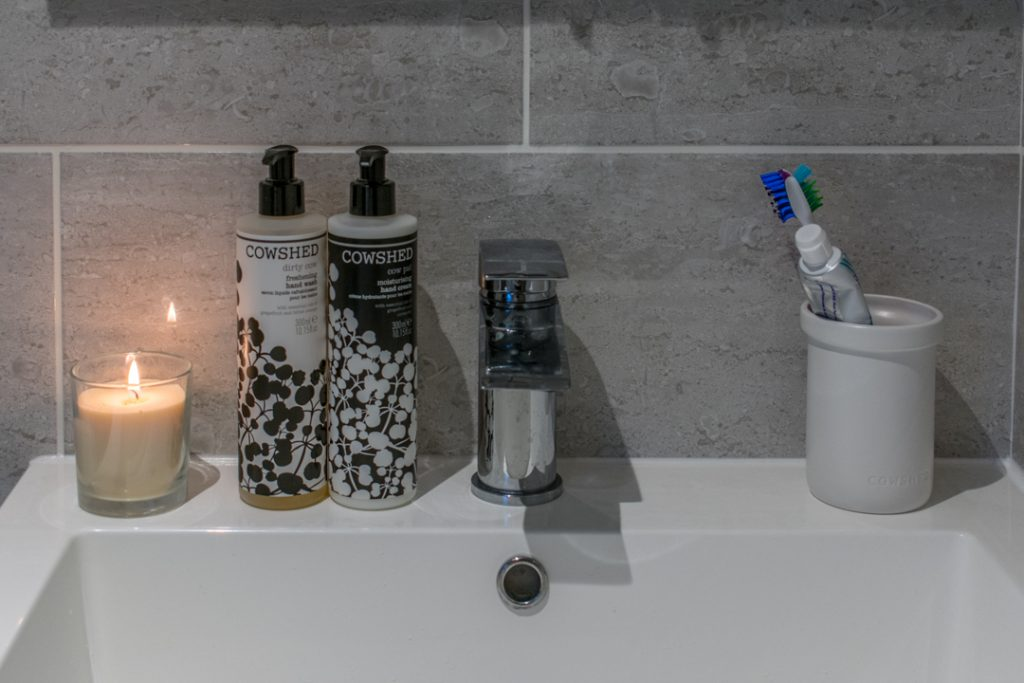 London Bathroom Renovation - Grey on Grey Bathroom - Modern Bathroom Renovation - The Bath Store Bathroom - Cowshed Bath Products