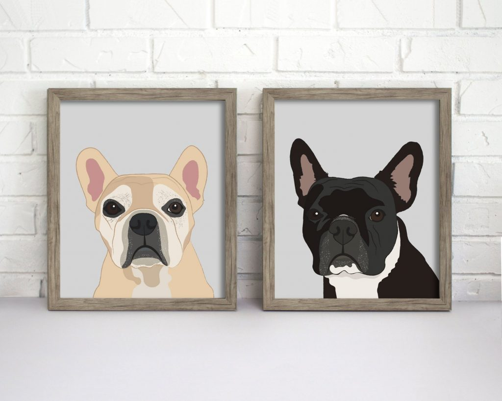 Custom Dog Portrait from Etsy - Mothers Day Gift Guide